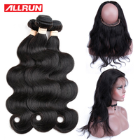 ALLRUN Hair Burmese Body Wave Hair 4 Pcs Lot 360 Lace Frontal With 3 Bundle Non