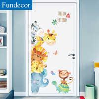 [Fundecor] Aquarel Dieren Muurstickers Voor Kinderen Kamers Kwekerij Kinderen Slaapkamer Deur Muurstickers Turtles Giraffe Home Decor