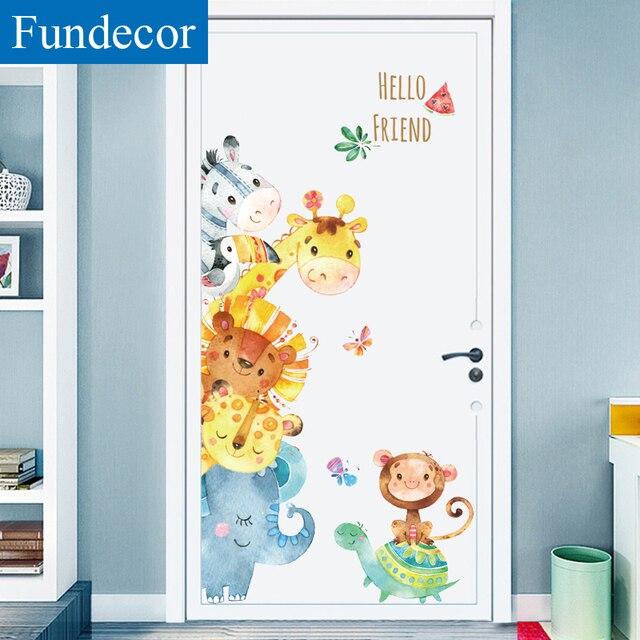 [Fundecor] Màu Nước Động Vật Tường Stickers Đối Với Trẻ Em Phòng Nursery Trẻ Em Phòng Ngủ Tường Decals Turtles Con Hươu Cao Cổ Trang Trí Nội Thất