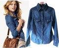 XS-XL women denim blouse slim jeans shirt lady's denim shirts 2017 spring fashion celebrity denim jacket