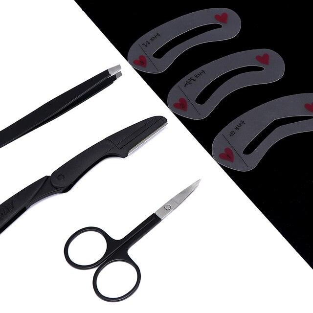4pcs/set Beauty Fashion Eyebrow Tweezers Scissors Stencils Kit Hair Removal Cosmetic Makeup Tool Kit Eyebrow Stencils