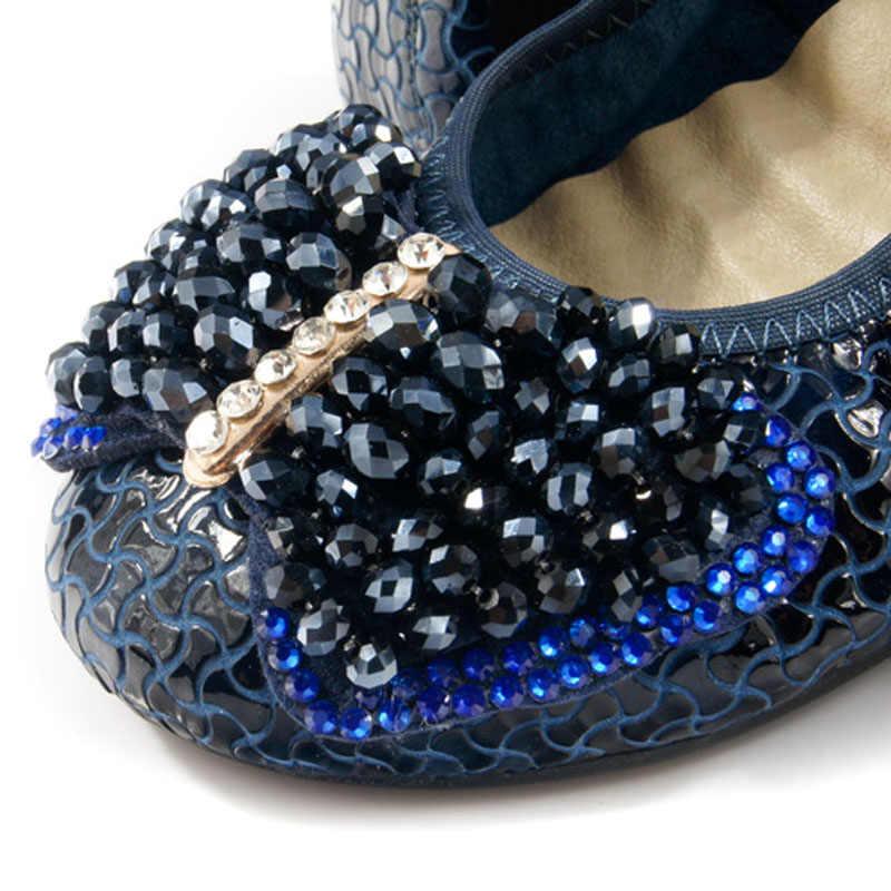 AUCVEEผู้หญิงรองเท้าC Omfort 100%หนังแท้ระบำออกแบบรองเท้าผู้หญิงหรูหรา2018เดินทางแฟลตบัลเล่ต์เลดี้กระเป๋ารองเท้า