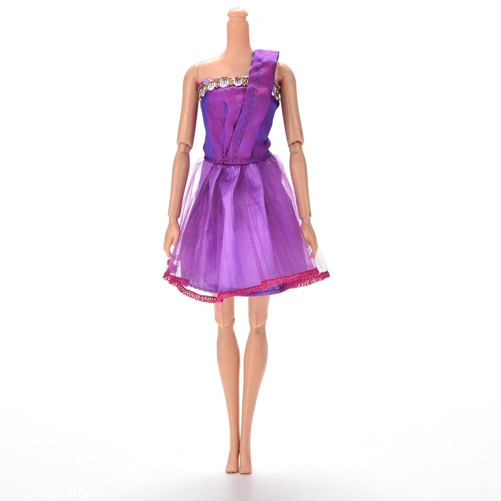 Purple Single Shoulder Handmade Dress For 11