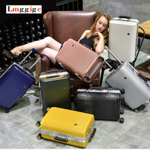 NEW Vintage Aluminum frame Luggage,Universal wheels Carry-Ons,Rolling Trolley Box,PC shell Suitcase,Strong Hard Case Travel Bag