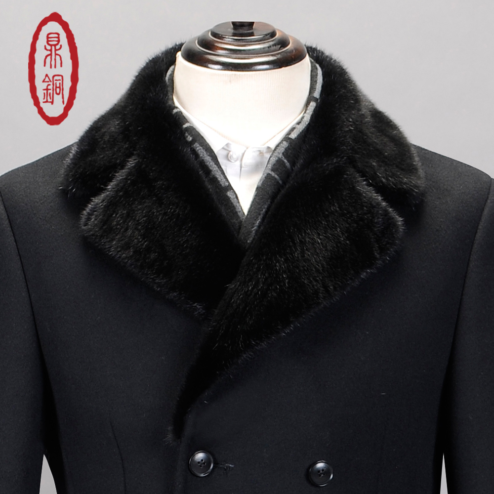 DINGTONG Men High Quality Padded Pure Wool Peacoat Double breasted