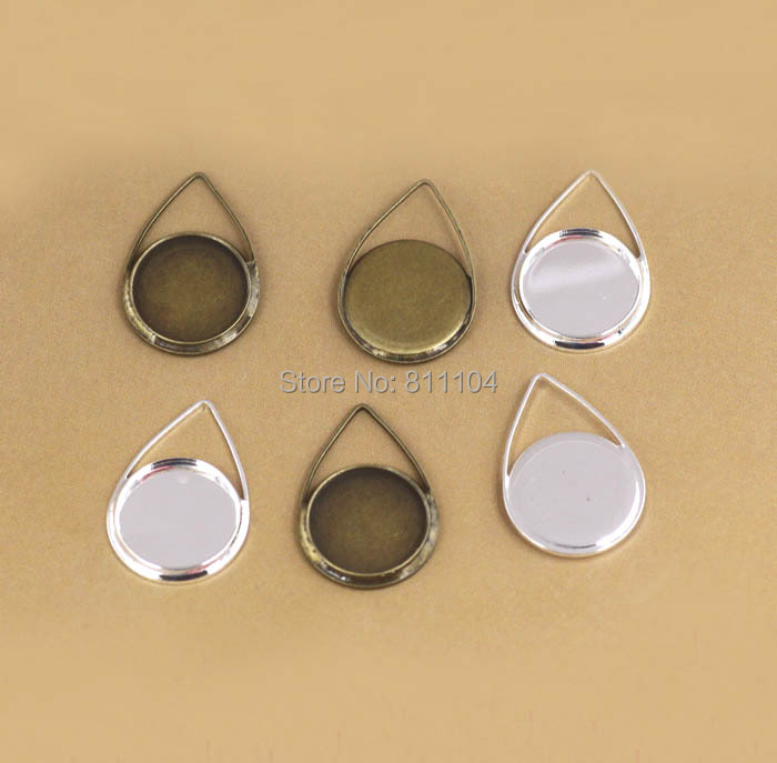 12mm Blank Round Bezel tray Bases Wired Teardrop Shape Pendant Settings DIY Cameo Jewelry Findings Clothing