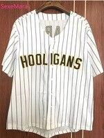 SexeMara Bruno Mars 24K Hooligans White Pinstriped Baseball Jersey Stitched Sewn White S XXXL