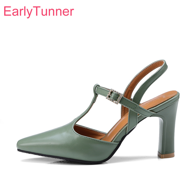 2018 Brand New Sales Sexy Beige Green Women Nude Sandals Fashion High Heels Lady Slingback Shoes ES830 Plus Big Size 10 32 43 46