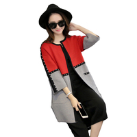 2016 Women Spring Autumn Candy Color Open Stitch Female Casual Thin Long Knitted Cardigans Jacket Knit