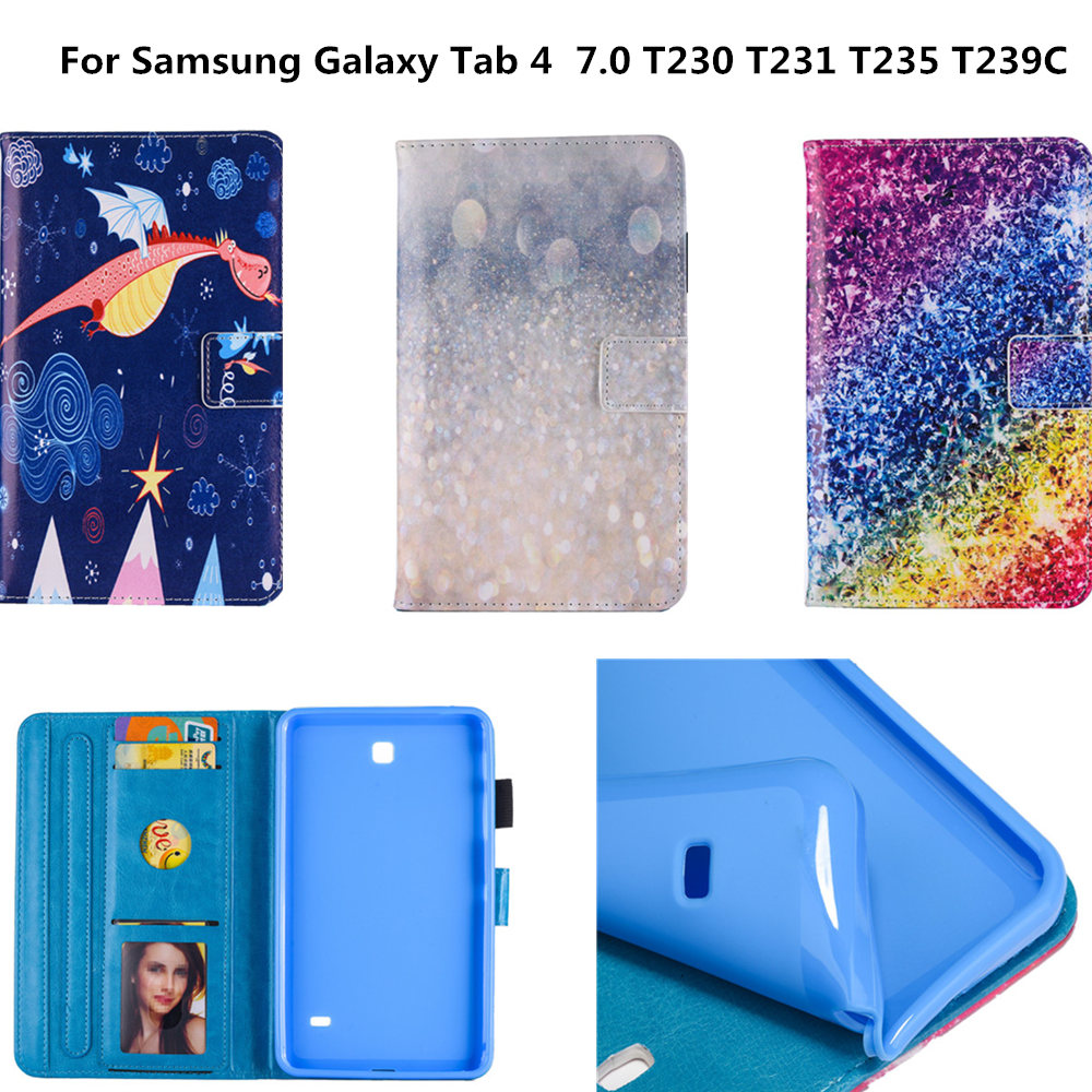 PU Leather Stand Tablet Armor Cover For Samsung Galaxy Tab 4 7.0 inch T230 T231 T235 SM-T230 T239C tablet Silicone Back Case