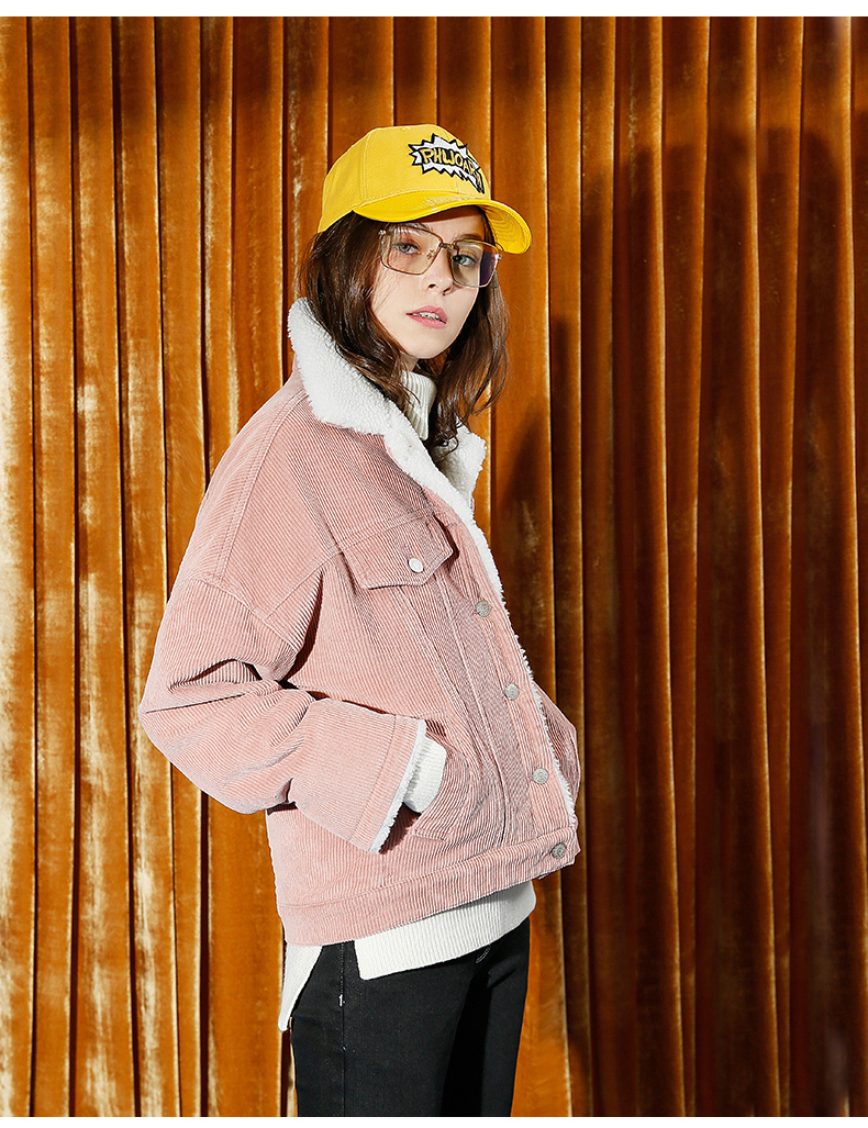 HTB1aP8ebPihSKJjy0Fiq6AuiFXab Toyouth Autumn Winter Corduroy Basic Jacket Lambswool Bomber Jacket Women Long Sleeve Jacket Casual Single Breasted Denim Jacket