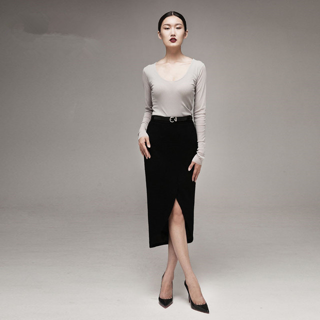 d92adc9b8 15- women vintage 50s Audrey Hepburn black wool wiggle pencil skirt saias  femininas plus size saias elegant semi-sheer faldas