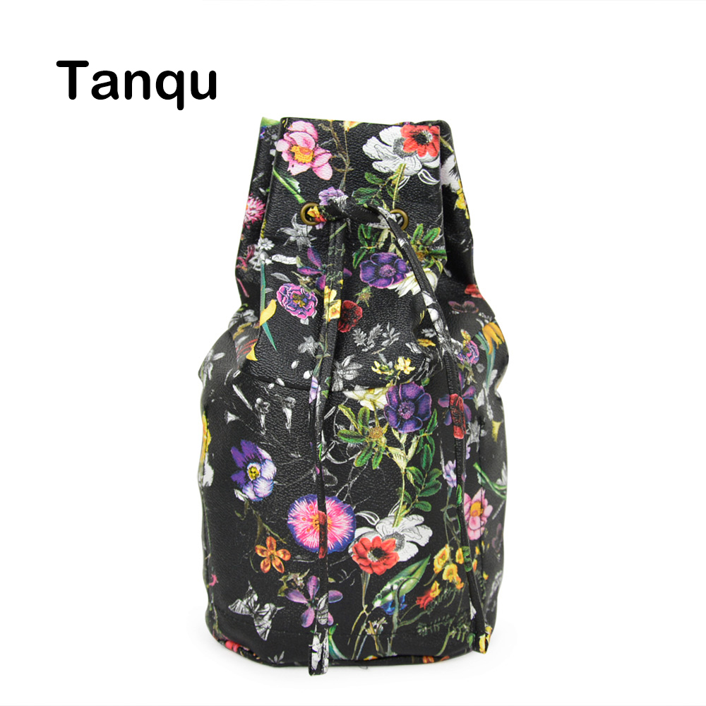 Tanqu New Floral Drawstring with Buckle PU Leather Inner Pocket Lining for Obasket Obag Handbag Insert for O Basket O Bag tanqu floral waterproof canvas fabric inner pocket lining for omoon light obag handbag insert organizer for o moon baby o bag