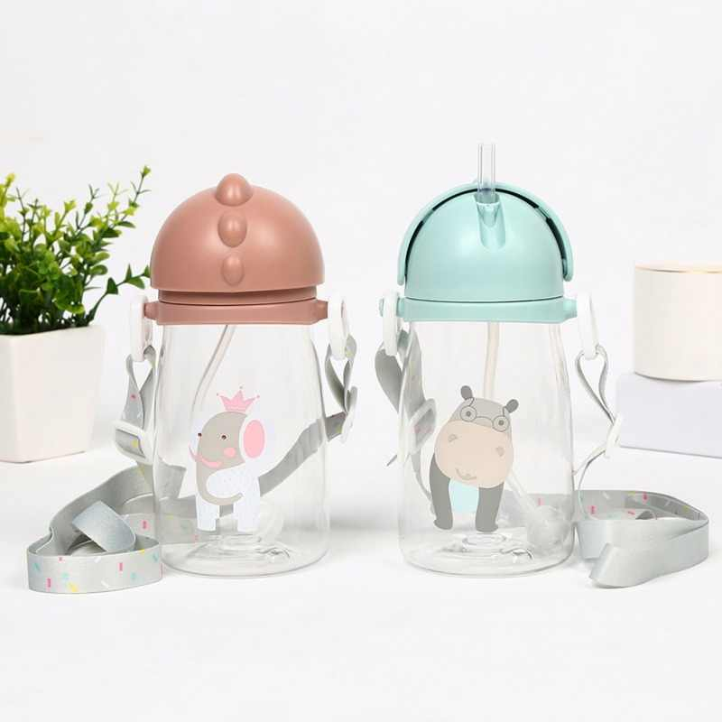 Baby Kids Children Cartoon Animal School Drinking Water Straw Bottle Straw Sippy Cup With Shoulder Strap 420ml