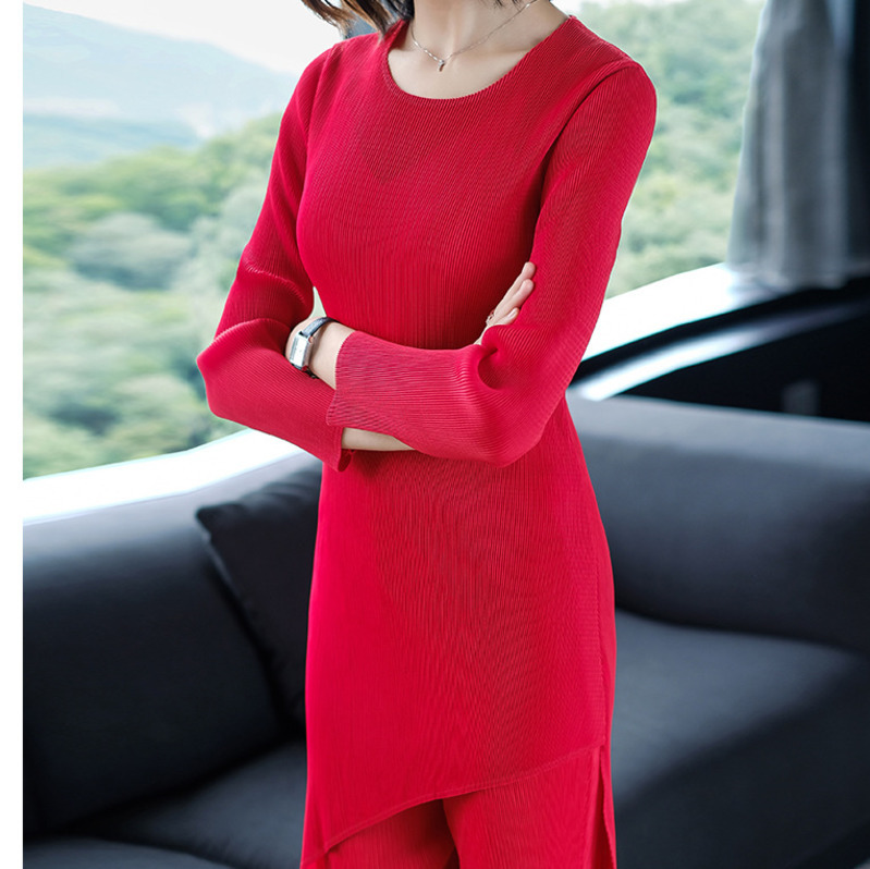LANMREM Solid Color Long Sleeve Irregular T-shirt Loose Pants Suit Casual Fashion Loose Plus Women 2020 Spring New TC907