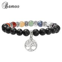 Bamos Tree Of Life 7 Chakra Bracelet Men Black Lava Healing