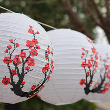 Set Of 3 Red Sakura(Cherry)Flowers White Color Chinese/Japanese Paper Lantern/Lamp 16 Inch Diameter,Set