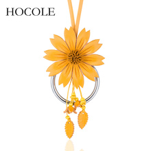 HOCOLE 2018 New Choker Bright Big Flower Necklace & Pendants Leather Statement Collier Jewelry Gift For Women