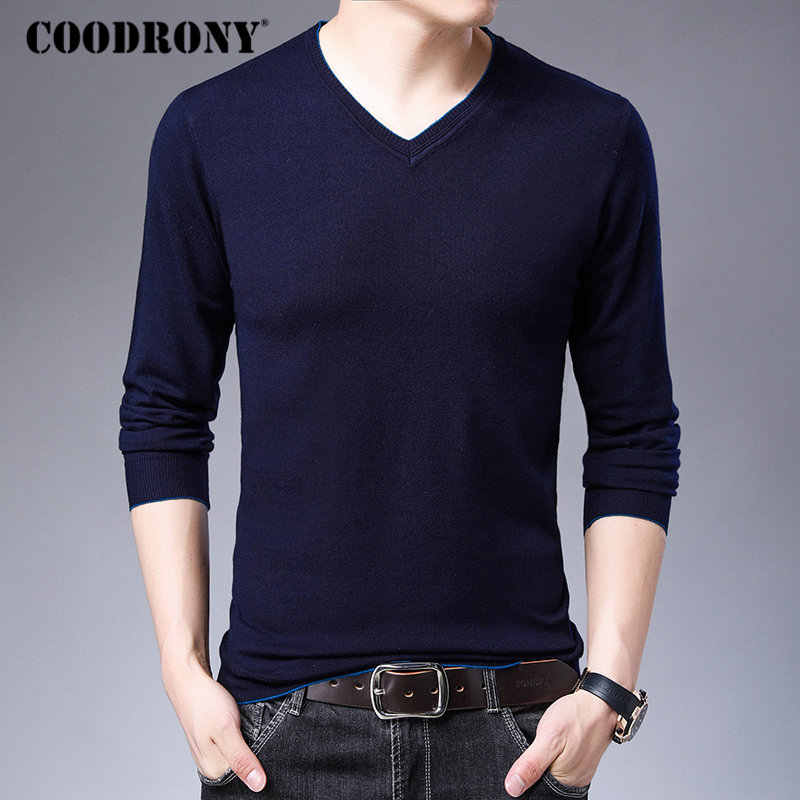 COODRONY Brand Sweater Men Knitwear Pull Homme Fashion Casual V-neck Pullover Men Autumn Winter Warm Cotton Wool Sweaters 91039