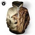 2017 Winter Hoodies Punk Casual sweatshirt Animal 3D Print lion lion head hip hop pullover men Coat street wear Sweatshirt