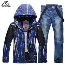 New men's ski suit 2016 Winter thicken warm Snowboard pants denim+Ski jacket men Waterproof Mountain Ski Suits Men Snow Clothes