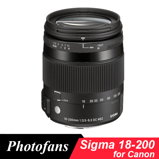 Objectif Sigma 18-200mm pour Canon 18-200mm f/3.5-6.3 DC Macro OS HSM objectif Lente pour 700D 750D 760D 60D 70D 80D 7D 1300D T5i T3iObjectif Sigma 18-200mm pour Canon 18-200mm f/3.5-6.3 DC Macro OS HSM objectif Lente pour 700D 750D 760D 60D 70D 80D 7D 1300D T5i T3i