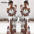 Summer Style Dress 2016  New Beach Loose Pretty Printing Three Quarter Sleeve Sexy Slash neck Off the Shoulder Women's Dress