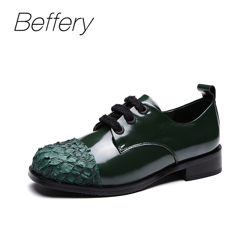 Beffery Oxfords Patent Leather Flats shoes women Round toe Lace-up casual shoes 2018 autumn fashion platform shoes green black beffery 2018 spring patent leather shoes women flats round toe casual shoes vintage british style flats platform shoes for women