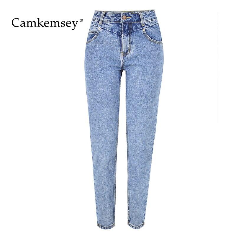 0f602a4a054 CamKemsey Модные Высокая талия мама джинсы для женщин Новинка 2019 года  осень зима светло голубой хлопок