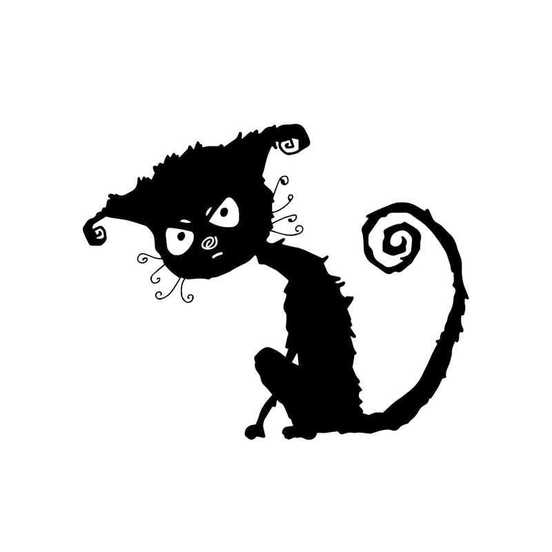 YOJA 21.3*17.5 CM Angry Mangy kot naklejki ścienne dekoracje do wnętrz do sypialni WC toaleta naklejka T4-0045