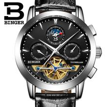 2017 luxury men's watches BINGER brand Mechanical Wristwatches Moon Phase sapphire full stainless steel Tourbillon clock B1188-4