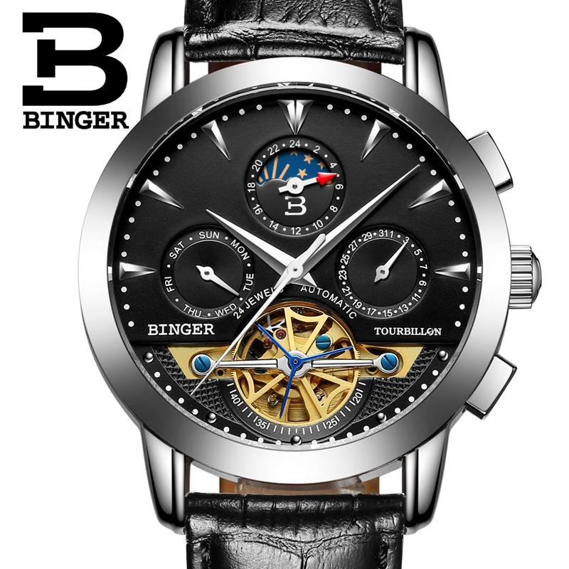 New Switzerland Luxury Brand Men's Watch BINGER Automatic Mechanical Wristwatches Moon Phase sapphire Tourbillon Clock B1188-4