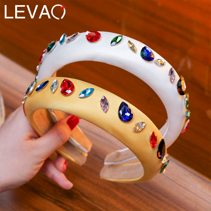 Levao Solid Crystal Thick Sponge Headband Fabric Hairbands Drop-shaped Color Rhinestone Headband For Women Hair Accessories