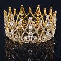 2017 New Luxury Royal Bridal Tiaras Gold Metal Clear Rhinestone Crystal Bridal Crown Wedding Hair Accessories Big crown