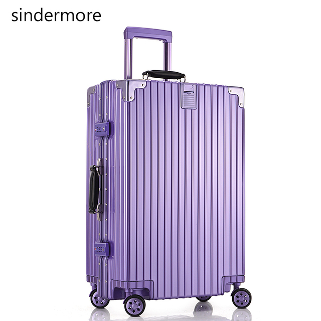"sindermore 20"" vintage travel luggage suitcase PC aluminum frame TSA trolley case hardside rolling luggage suitcase with wheels"