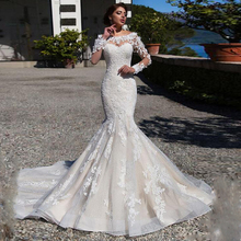 Gorgeous Off the Shoulder Mermaid Wedding Dress with Lace Appliques Long Sleeves Sweep Train Beading Bridal Dress