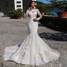 Lindo fora do ombro vestido de noiva sereia com apliques de renda mangas compridas trem varredura miçangas vestido de noiva