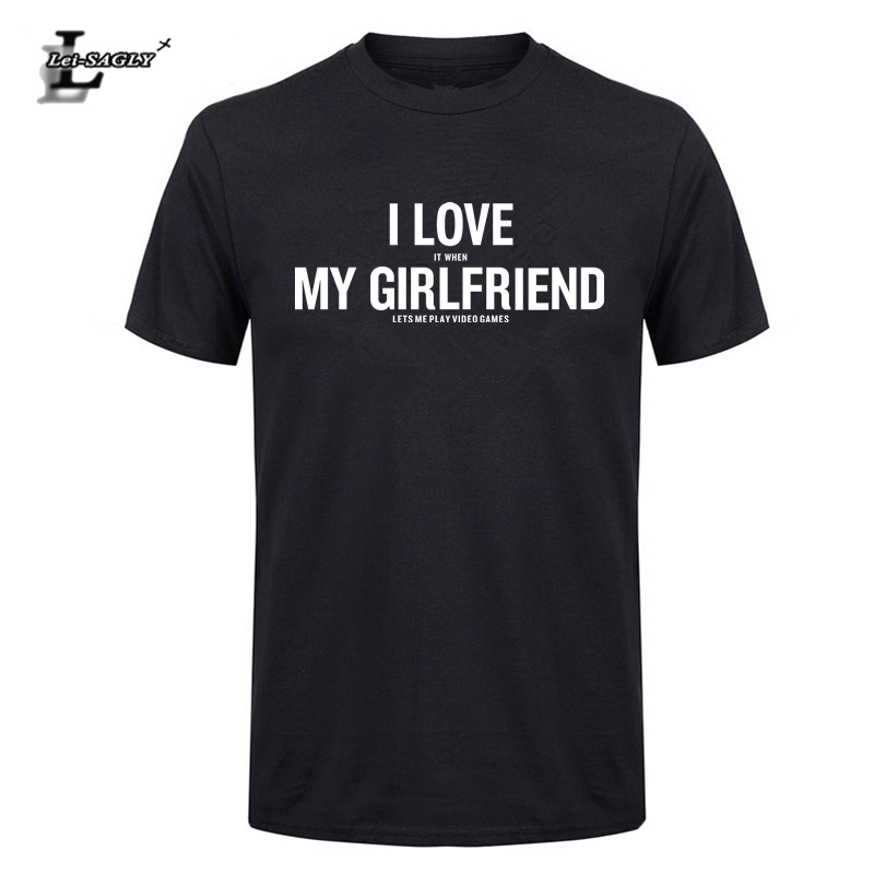 Lei-SAGLY Men T-Shirt Anniversary Gifts For Boyfriend Letter Printed I Love It When My Girlfriend Lets Me Play Video Games Shirt
