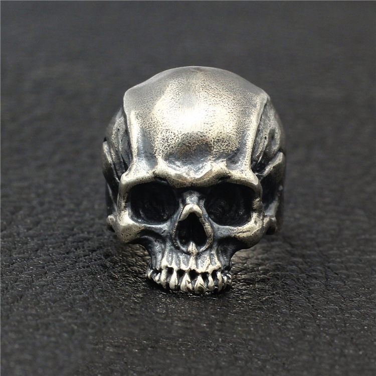 925 Sterling Silver High Detail Skull Ring Mens Biker Punk Ring Jewelry A3430-in Rings from Jewelry & Accessories    1