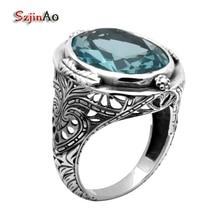 Szjinao Модные ювелирные изделия Небесно-Голубой Аквамарин кольцо рамка цветы антикварное кольцо 925 пробы Серебряное кольцо