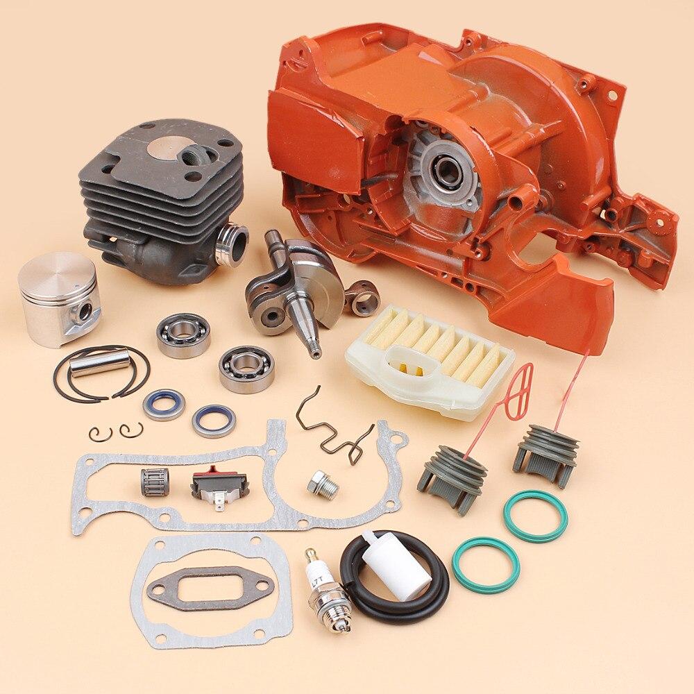 Двигатель Корпус Картера цилиндра, поршень, коленчатый вал, комплект подходит для Husqvarna 372 365 362 371 цепная пила пилы запасные Запчасти 50 мм диа