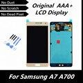 100% de alta qualidade original display lcd de toque digitador assembléia para samsung galaxy a7 a700 a7000 ouro cor peças de reposição