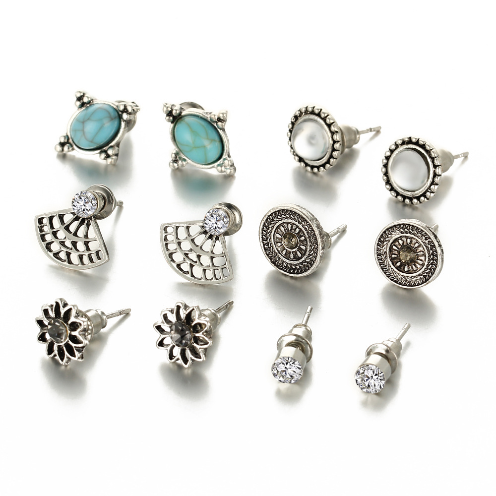 New Bohemia High Quality Silver Color Stud Earrings Vintage Blue Stone 6pair/set Combination Earrings Jewelry