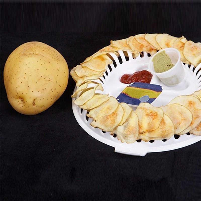 3 قطعة DIY السعرات الحرارية فرن الميكروويف خالية من الدهون رقائق البطاطس صانع مجموعة أبدا يضر إصبع تقطيع البطاطس أدوات المطبخ سكين