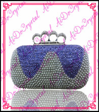 Aidocrystal grey and blue crystal stones paved finger shape clasp clutch bag and high heel shoes set for party