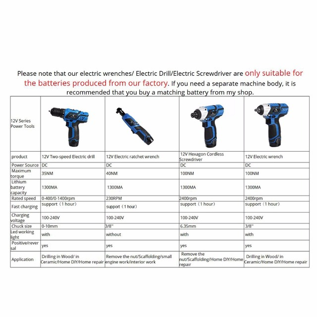 Prostormer 12V Series Electric Drill/Electric Screwdriver/Electric wrench/Ratchet wrench Cordless Drill Household Power Tools 3