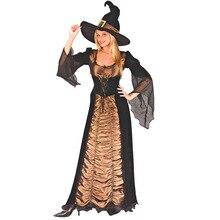 VASHE взрослый костюм ведьмы Для женщин сексуальные фантазии костюмы на Хэллоуин карнавальный женские вечерние творческие платье со шляпой