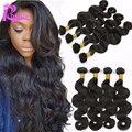 Бразильской волне тела пучки волос, 7а бразильского виргинские волос 4 связки лот необработанные дешевые человеческих волос weave расширения