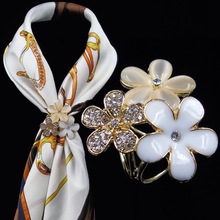 Trendy  Flower Crystal Scrave Buckle Clips for Female Cate Eye Brooch Pins   Enameled Jewelry  Mother's day gifts