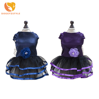 Pet Dog Princess Dress Polyester Mesh Floral Skirts Wedding Party Clothes Vintage Puppy Dog Cat Costume